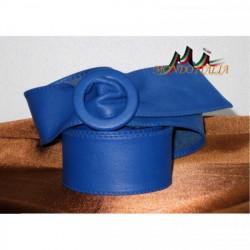Dámsky kožený opasok 730 modrý Made in Italy, Modrá, 110 cm