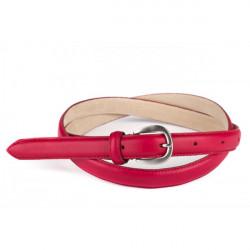 Dámsky kožený opasok 945 červený Made in Italy, Červená, 110/125 cm