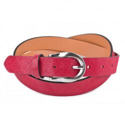 Dámsky kožený opasok 951 červený Made in Italy, Červená, 100/115 cm
