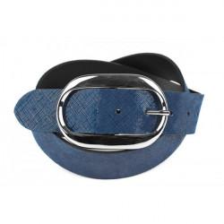 Dámsky kožený opasok 952 Made in Italy, Modrá, 115 cm