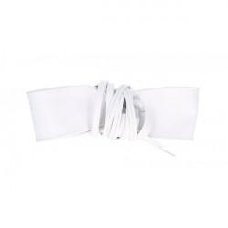 Dámsky kožený opasok na šnúrovanie 839 biely, Biela