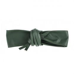 Dámsky kožený opasok na šnúrovanie 839 zelený, Zelená