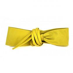 Dámsky kožený opasok na viazanie 839 žltý Žltá 85 cm