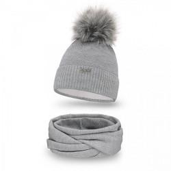 Dámsky set čiapka a nákrčník MI142 šedý, Uni, Šedá