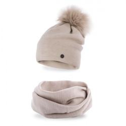 Dámsky set čiapka a nákrčník MI67 béžový, Uni, Béžová