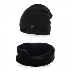 Dámsky set čiapka a nákrčník MI77 čierny, Uni, Čierna