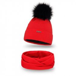 Dámsky set čiapka + nakrčník 142 červený, červená