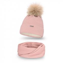 Dámsky set čiapka + nakrčník 142 ružový, ružová