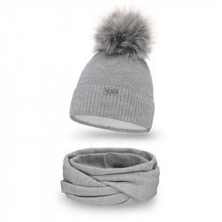 Dámsky set čiapka + nakrčník 142 šedý, šedá