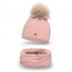 Dámsky set čiapka + nakrčník 67 ružová