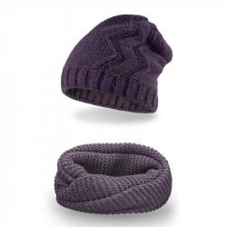 Dámsky set čiapka + nakrčník 713 fialový, fialová
