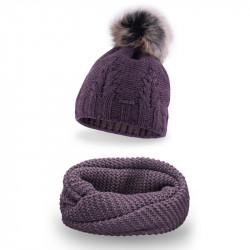 Dámsky set čiapka + nakrčník 713A fialový, fialová