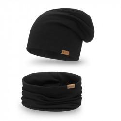 Dámsky set čiapka + nakrčník 77A čierny, čierna