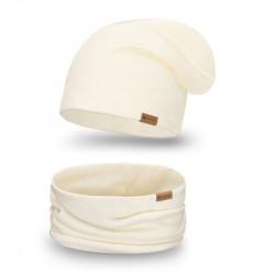 Dámsky set čiapka + nakrčník 77A krémový, béžová
