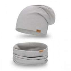 Dámsky set čiapka + nákrčník 77A šedý, Uni, Šedá