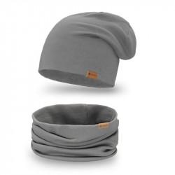 Dámsky set čiapka + nakrčník 77A tmavošedý, šedá