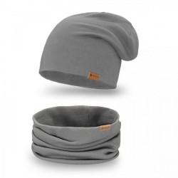 Dámsky set čiapka + nákrčník 77A tmavošedý, Univerzálna, Grafitová