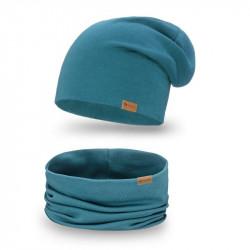 Dámsky set čiapka + nakrčník 77A tyrkysový, tyrkysová