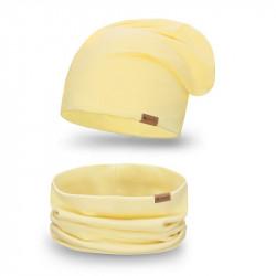 Dámsky set čiapka + nakrčník 77A žltý, žltá
