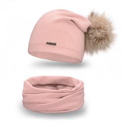 Dámsky set čiapka s brmbolcom + nakrčník 67B ružová