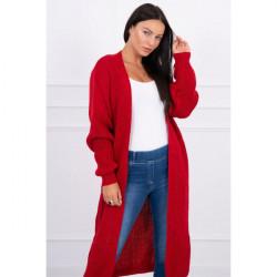 Dámsky sveter dlhý kardigán MI2019-2 červený, Červená