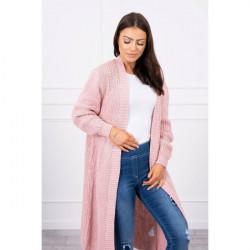 Dámsky sveter dlhý kardigán MI2019-2 pudrovo ružový, Pudrová ružová