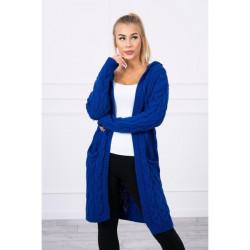 Dámsky sveter s kapucňou a vreckami MI2019-24 azurovo modrý Univerzálna Modrá
