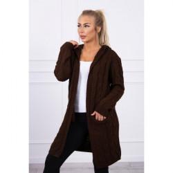 Dámsky sveter s kapucňou a vreckami MI2019-24 hnedý Univerzálna Hnedá