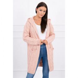 Dámsky sveter s kapucňou a vreckami MI2019-24 pudrovo ružový, Pudrová ružová