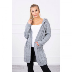 Dámsky sveter s kapucňou a vreckami MI2019-24 šedý, Šedá