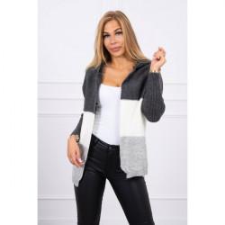 Dámsky sveter s kapucňou MI2019-15 šedý Univerzálna Šedá