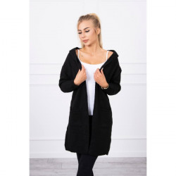 Dámsky sveter s kapucňou MI2020-10 čierny Univerzálna Čierna