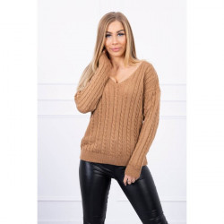 Dámsky sveter s výstrihom 2019-33 kamel, Univerzálna, Kamel