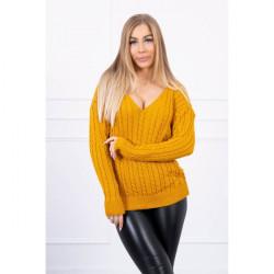Dámsky sveter s výstrihom 2019-33 okrový, Univerzálna, Okrová