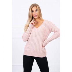 Dámsky sveter s výstrihom 2019-33 pudrovo ružový Univerzálna Fuchsia