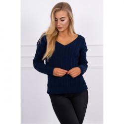 Dámsky sveter s výstrihom 2019-33 tmavomodrý, Univerzálna, Modrá