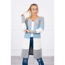 Dámsky sveter so širokými pruhmi  MI2019-12 modrý, Modrá