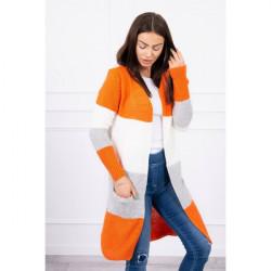Dámsky sveter so širokými pruhmi  MI2019-12 oranžový Univerzálna Oranžová