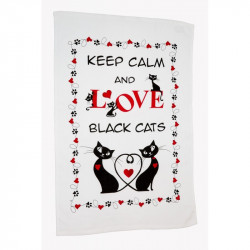Dekoračná bavlnená utierka 400 Čierne mačky