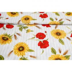 Dekoračná látka Bavlna slnečnice a divé maky prúžkované Červená
