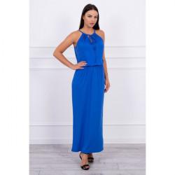 Dlhé šaty s rozparkom MI8893 azurovo modré, Uni, Modrá