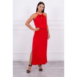 Dlhé šaty s rozparkom MI8893 červené, Uni, Červená