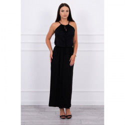 Dlhé šaty s rozparkom MI8893 čierne, Uni, Čierna