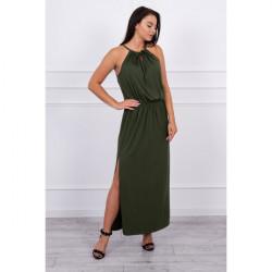 Dlhé šaty s rozparkom MI8893 tmavozelené, Uni, Zelená