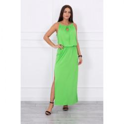 Dlhé šaty s rozparkom MI8893 zelené, Uni, Zelená