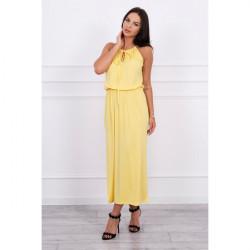 Dlhé šaty s rozparkom MI8893 žlté, Uni, Žltá