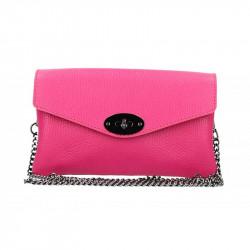 Fuxia kožená kabelka na rameno MADE IN ITALY, Farba fuxia MADE IN ITALY 5303