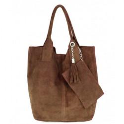 Hnedá kožená kabelka v úprave semiš 804 Hnedá