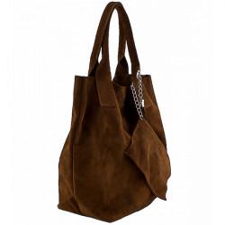 Hnedá kožená kabelka v úprave semiš 804 Hnedá #2