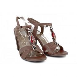 Hnedé dámske sandále zdobené kamienkom 889 ZODIACO, Hnedá, 39